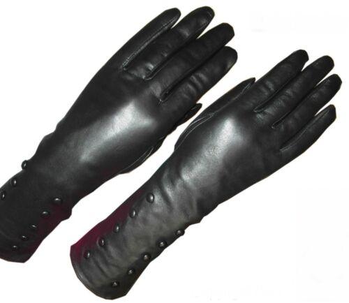 Echt Leder Handschuhe Samtweich Schwarz elegant mit Knöpfen verziert