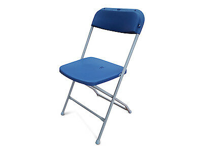 NEW Blue Folding Plastic Chairs. Stacking Outdoor & Indoor. Samsonite