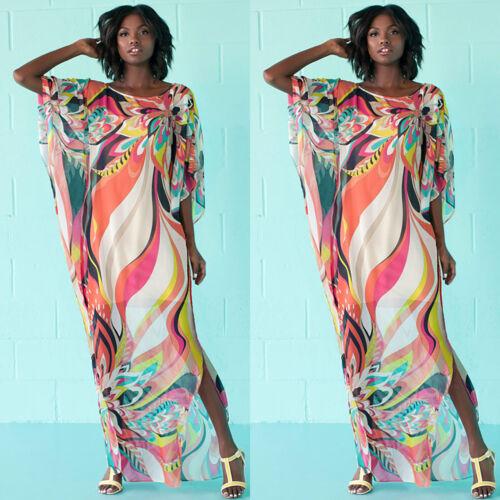 Womens Bikini Cover Up Swimwear Beach Long Tunic Tops Sarong Kimono Kaftan Dress