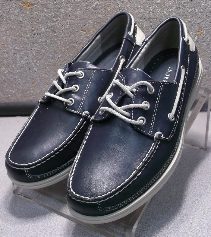 5933146 DS50 Men's Shoes Size 9 M Navy Leather Boating Shoe Johnston & Murphy