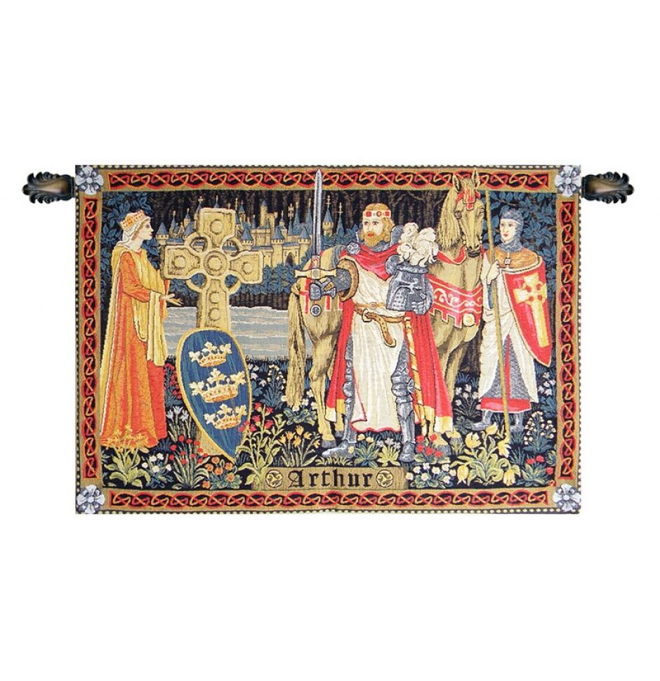 BELGIAN MEDIEVAL TAPESTRY King Arthur - Knight Picture 38 x56