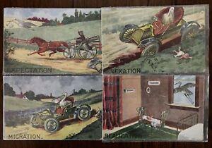Lot-of-4-Progression-of-Storks-Stork-Arrivals-Vintage-Greetings-Postcards-a449