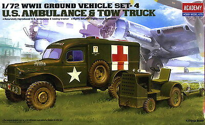 Academy Vehicle 1//72 Scale Plastic Model Kit Ambulance /& Towing Tractor #13403