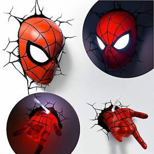 Marvel avengers spider man mask head face hand 3d deco wall led image is loading marvel avengers spider man mask head face hand mozeypictures Gallery