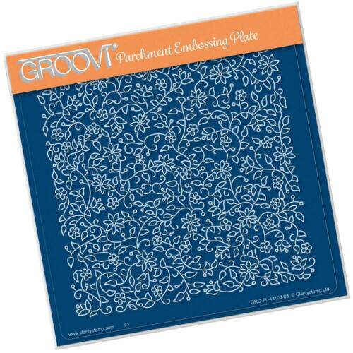 CLARITY STAMP GROOVI Parchment 148mm Embossing Plate FLORAL FLOURISH GRO-FL41100