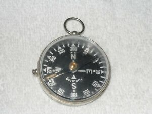 Vintage Compass in S/S Case with Needle Lock & Key Ring...made in Germany