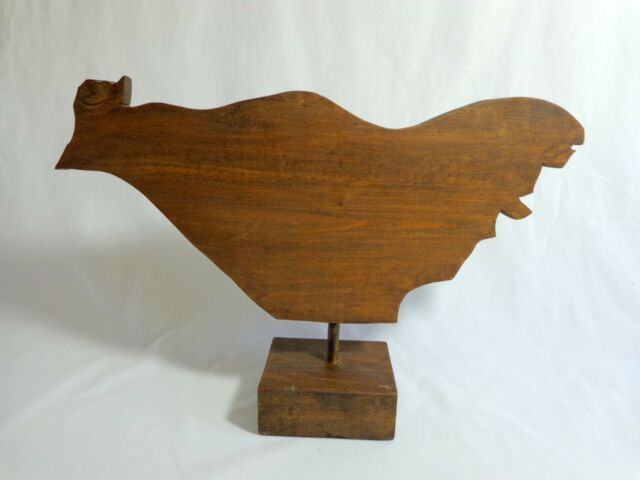 """CHICKEN FIGURINE 10""""x15"""" Large Wood Brown Plaque with Peg Removable Square Base"""