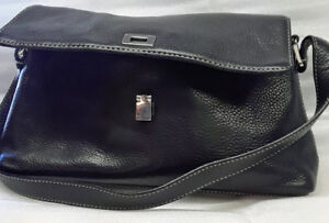 Ann-Taylor-Black-Leather-Satchel-Handbag