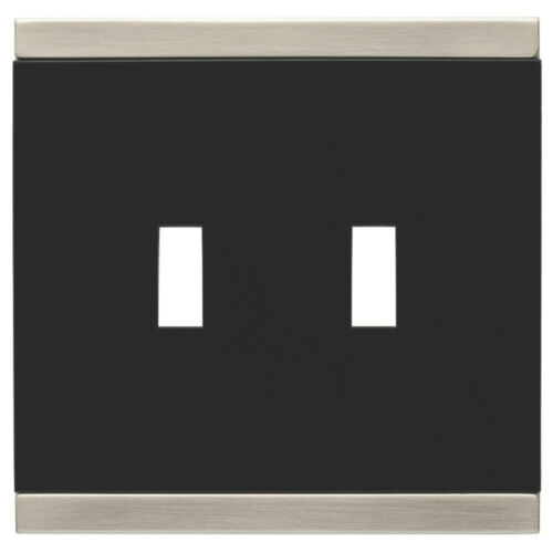 135755 Basic Stripe Black /& Satin Nickel Double Switch Cover Wall Plate