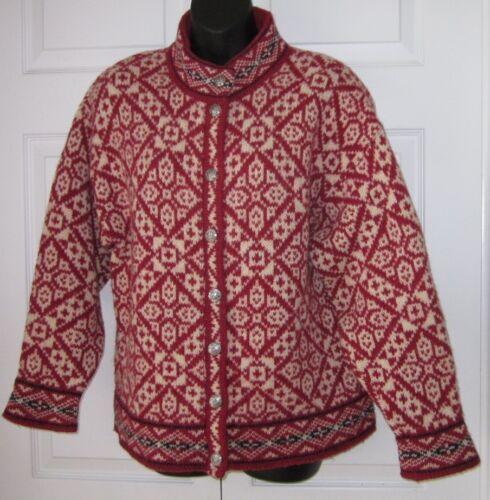 Wms misto Bean Vintage lana maglione L Red Cardigan bk wTx7E