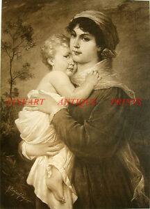 3778a409445b YOUNG GIRL MOTHER HUGS CUTE BABY BOY CURLY HAIR ~ Antique Old 1883 ...