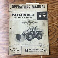 International Hough H 70 Operator Manual Operation Maintenance Wheel Payloader