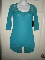 886 Misses Shirt Xs Heather Teal Blue Lace Almost Famous Coat Tails