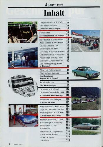 Oldtimer Markt 6//89 Peugeot 504 Jaguar S-Typ