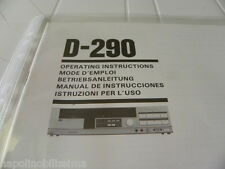 Sansui  D-290 Owner's Manual  Operating Instructions Istruzioni New