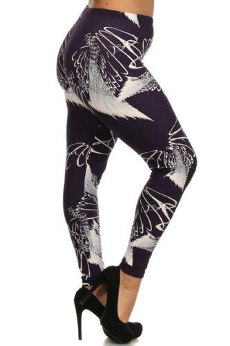 Womens Plus Dark Purple /& White Geometric Print Leggings One Size Fit XL,1X,2X