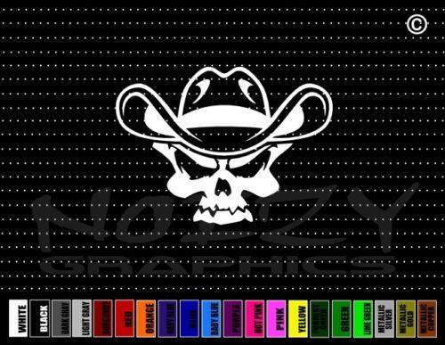 Skull #8 4x4 Cowboy Up Hat Redneck Lifted Truck Car Decal Window Vinyl Sticker