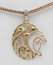 Yellow 18K Gold Sterling Silver Kids Dolphin GIFT Children Diamond Pendant ocean