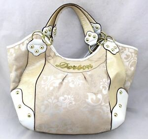 DEREON-Fleur-Di-Lis-Tapestry-Croc-Patent-Faux-Leather-Trim-Large-Hobo-Tote-Bag