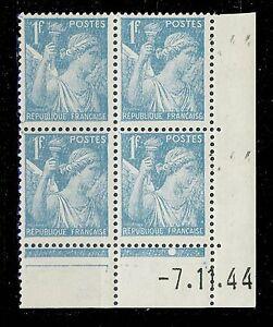 FRANCE-1944-N-650-1fr-IRIS-COIN-DATE-du-7-11-44-1-point-blanc-TB