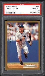 (2) CARD LOT 1999 Topps #85 DEREK JETER HOF New York Yankees PSA 10 GEM MINT