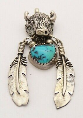 Southwestern 925 Sterling Silver Turquoise Vintage Buffalo Nickel Coin Pendant