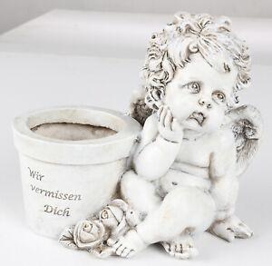 Grab-Spruchstein-Angel-Planter-20cm-Grave-Decorations-Memorial-Flowerpot-Statue