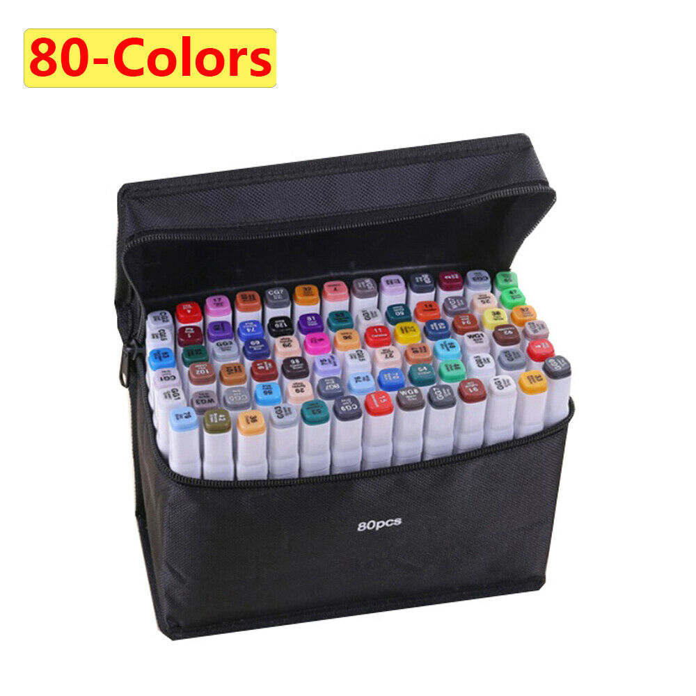 80-color Alcohol Marker set,alcohol markers Dual Tips art supplies copic markers 2