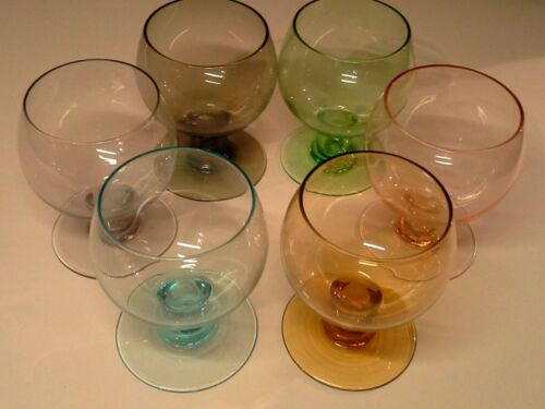 6 vintage coloured BrandyCognac snifter glasses