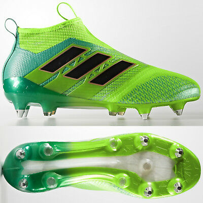adidas Ace 17+ Purecontrol SG Mens Football Boots Green Laceless SIZE 8 8.5 | eBay