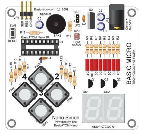 Nano 18 Simon Board 7 Segmenti LED Display Led Cicalino 4 VIE TASTIERINO LDR MULTIPLEX