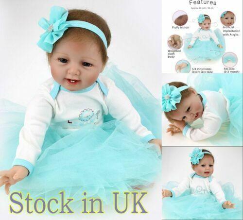 "22"" Reborn Dolls Soft Silicone Lifelike Newborn Girl Vinyl Babies Toddler Doll"