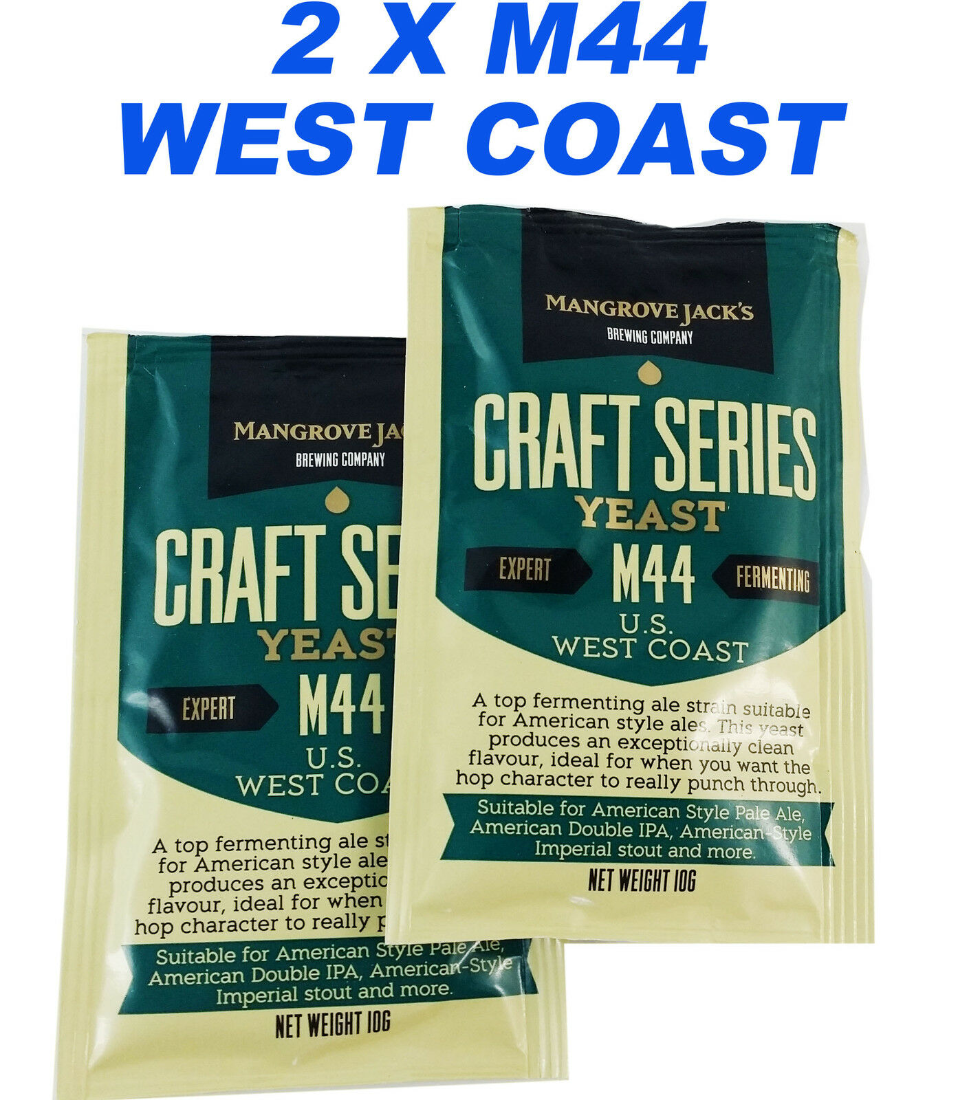 2 x Mangrave Jack's M44 WEST COAST Yeast American Style Pale Ale Yeast