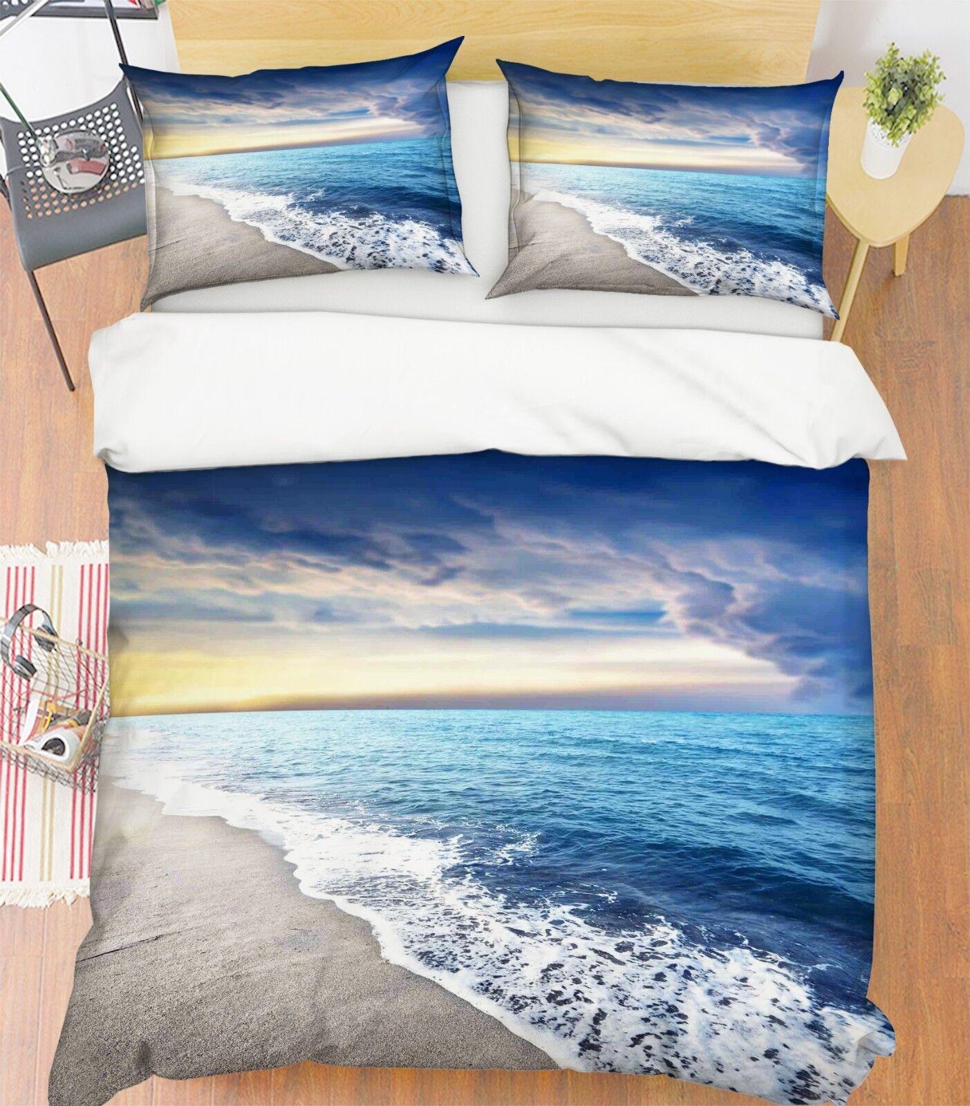 3D Dämmerung Strand Ansicht 5 Bett Kissenbezüge steppen Duvet Decken Set Single
