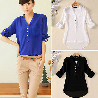 Elegant 1PC Women Spring Summer V-Neck Chiffon Long Sleeve Casual Shirt Blouse