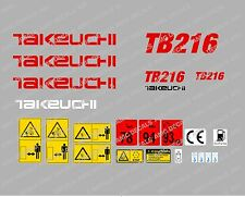 TAKEUCHI TB216 MINI BAGGER-AUFKLEBER-AUFKLEBER-SATZ MIT SICHERHEIT-WARNZEICHEN