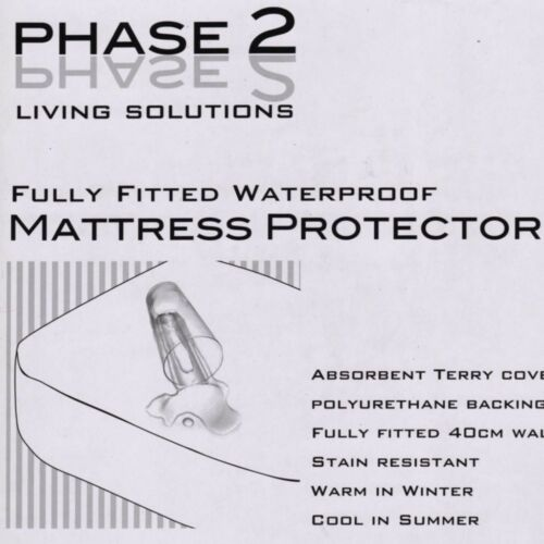 40cm Fitted Wall Terry Waterproof FITTED Mattress Protector by Phase 2