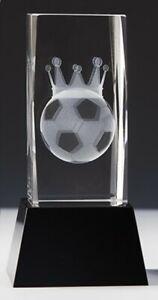 Kristallglas 3D-Lasermotiv FUSSBALLKÖNIG m.Sockelgravur -in Box- nur 27,95 EUR