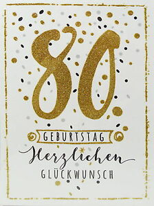 gl ckwunschkarte 80 geburtstag herzlichen gl ckwunsch gru karte glitzer gold ebay. Black Bedroom Furniture Sets. Home Design Ideas
