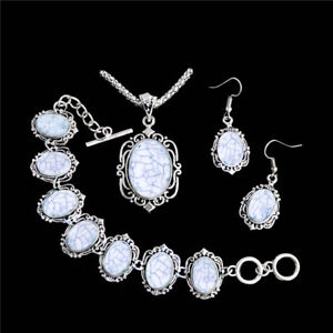 Elegant-Women-Silver-Faux-Turquoise-Jewelry-Set-Necklace-Earrings-Bracelet-Gift