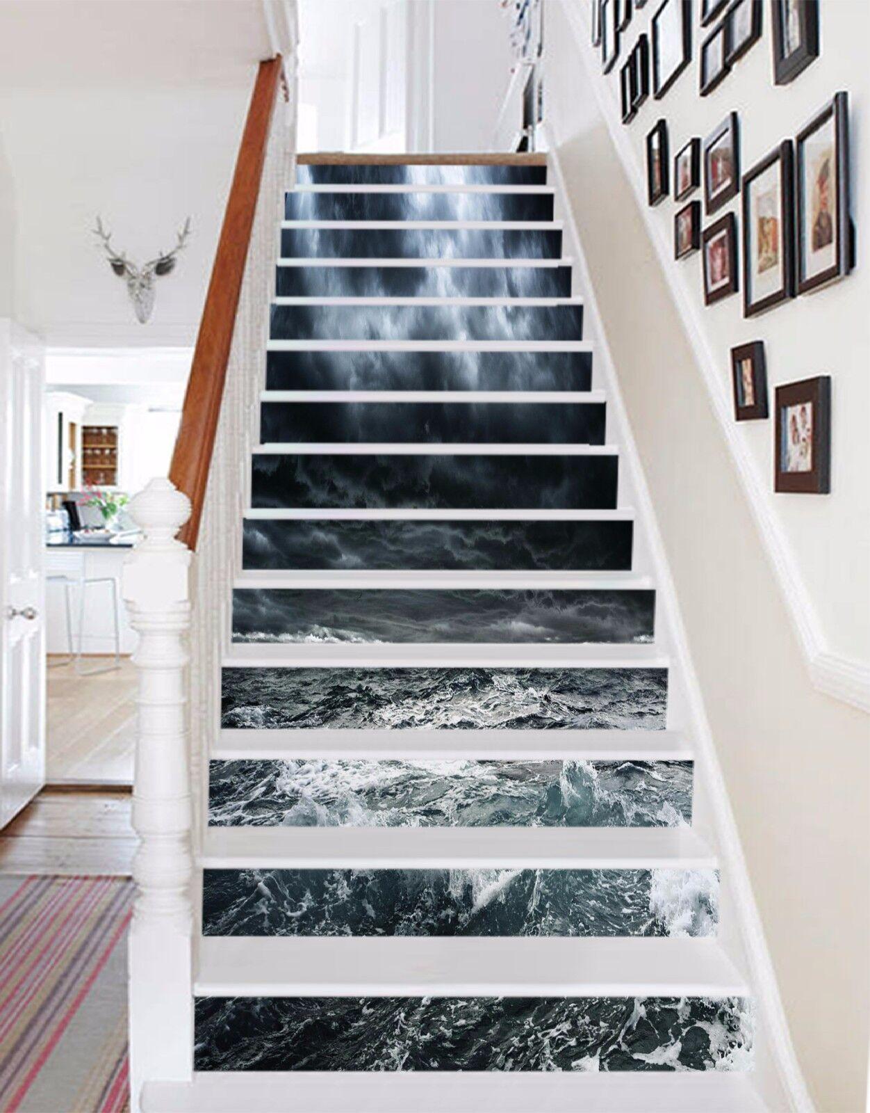 3D Billows Meer 736 Stair Risers Dekoration Fototapete Vinyl Aufkleber Tapete DE