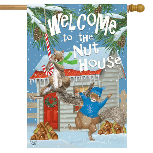 """Winter Nut House House Flag Squirrels Welcome 28/"""" x 40/"""" Briarwood Lane"""