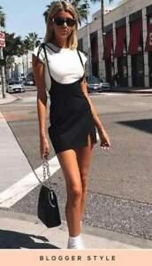 Women New Ladies BLACK TIE SHOULDER JERSEY PINAFORE BODYCON MINI DRESS 8-14