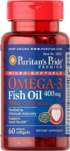 Puritan-039-s-Pride-Omega-3-Fischoel-beschichtet-60-Softgels-X-400-MG
