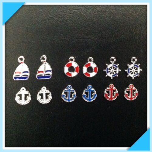 12 émail voilier ancre nautique charme bijoux bracelets boucles d/'oreilles T4