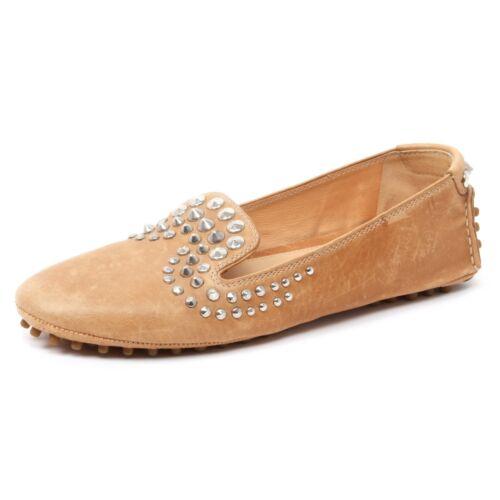 Shoe Borchie Mocassino Scarpa Loafer Woman Donna Cuoio Car B4992 YOItxnvn