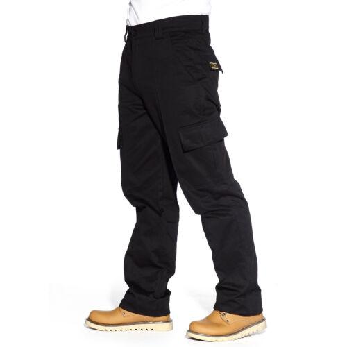 Black Heavy Duty Combat Mens Cargo Trousers Work Pent Knee Pad Pocket