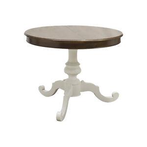 Tavolo rotondo in legno allungabile piano noce gamba bianco ebay - Tavolo rotondo bianco allungabile ...