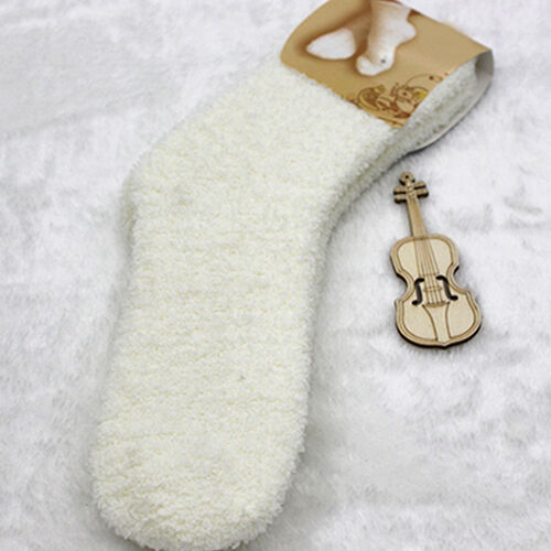 EE/_ Women Girl Winter Warm Thicken Coral Fleece Sleep Bed Solid Color Socks Nove