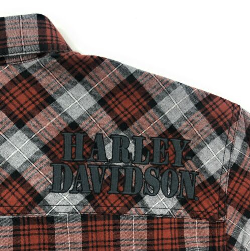 Harley Davidson Shoulder Shirt Mens Graphic Button Front Woven Red Gray 96113-20